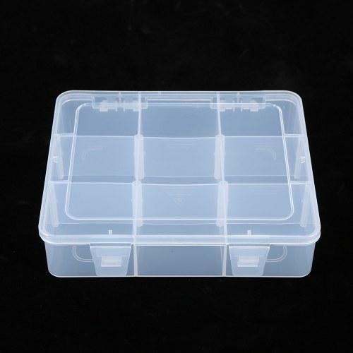 Portable Transparent Lastics Box 9 Grids Dismountable Vertical Partition Elements Storage Box