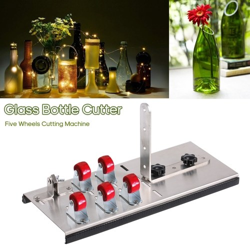 Stainless Steel Glass Bottle Cutter DIY Tool Wine Beer Bottles Cutting Tool with Five Wheels Cutting Machine