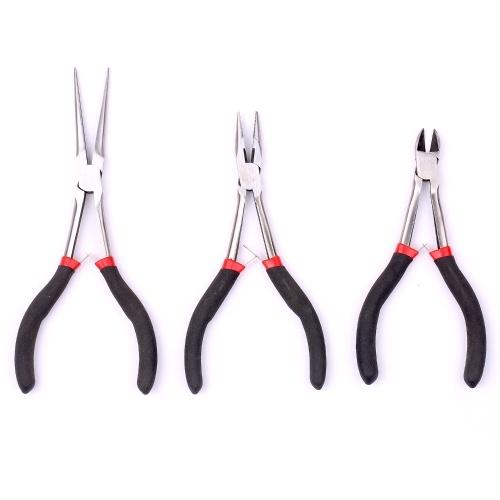 3pcs Pliers Set Long Straight Pliers Mini Pliers DIY Jewelry Tool Set Needle Nose Pliers Diagonal Pliers Long Nose Pliers