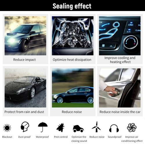 11pcs Universal Auto Car Door Seal Kit Adhesive Soundproof Strip Weather Stripping Wind Noise Reduction Kit Weather Draft Seal Strip
