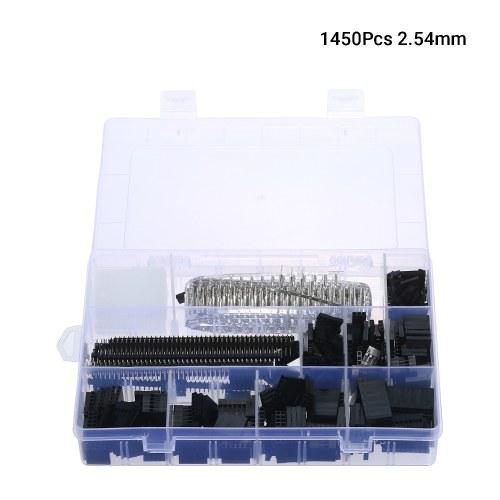 1450Pcs 2,54 mm Überbrückungsdraht-Stiftleisten-Steckverbindergehäusesatz Stecker Buchsen Crimpstifte Elektronische Komponenten mit durchsichtigem Kunststoffgehäuse