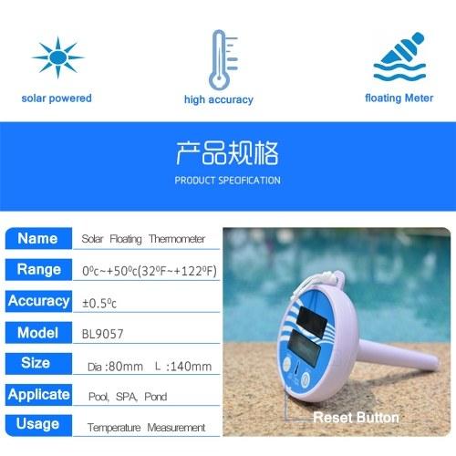 Solarbetriebenes digitales Thermometer Drahtloses Teichbecken Schwimmendes LCD-Display Schwimmbadthermometer Solarthermometer Schwimmendes Thermometer Badbadewanne Thermometer