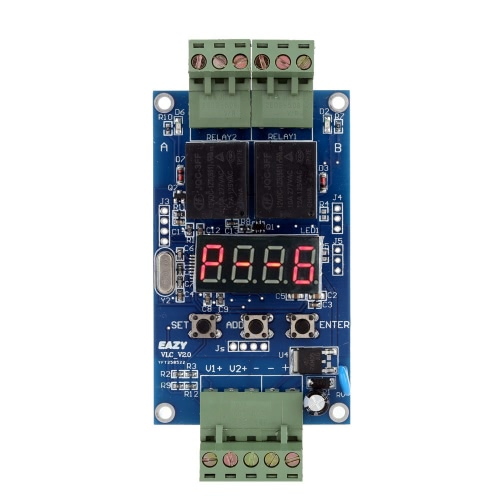 12V Dual Programmable Relay PLC Board Cycle Delay Timer Module 2 Voltage Detection Control