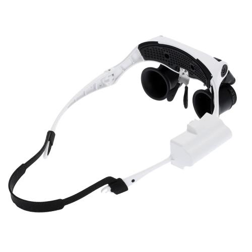 Portable Head Wearing Magnifying Glass 10x 15x 20x 25x LED Double Eye Jeweler Watch Clock Repair Magnifier