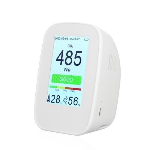 CO2 / RH / Temp. Detector de calidad del aire multifuncional 3 en 1 Medidor de CO2 para interiores / exteriores Monitor de temperatura y humedad