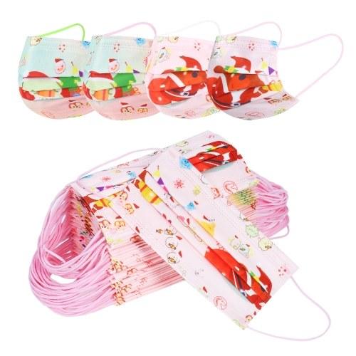 50 Stück Einweg-Weihnachtsmaske 3-lagige Einweg-Gesichtsmasken mit Nasenclip und Ohrschlaufen Atmungsaktive Santa Print Design-Gesichtsmaske für Kinder