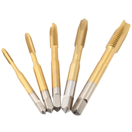 5 Pcs/set M3-M8 High-speed Steel Titanium Coated Straight Groove Tap HSS 6542 Straight Flute Taps Round Shank with Square End Spiral Point Tap Professional Machine Screw Tap