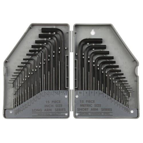 PENGGONG 30Pcsメートル法六角レンチセット家庭用電化製品自転車機械用0.028〜3 / 8インチ0.7〜10mm修理工具