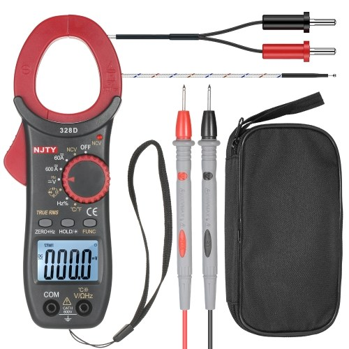 NJTY 328D 600A AC Clamp Meter Auto Range 6000 Counts LCD da 1,6 pollici Digital AC True RMS NCV Clamp Type Universal Meter