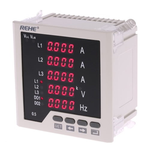 96*96mm Multi-functional 3 Phase AC Current Voltage Frequency Panel Meter Ammeter Voltmeter Current Voltage Ratio Programmable AC5A AC450V 50Hz