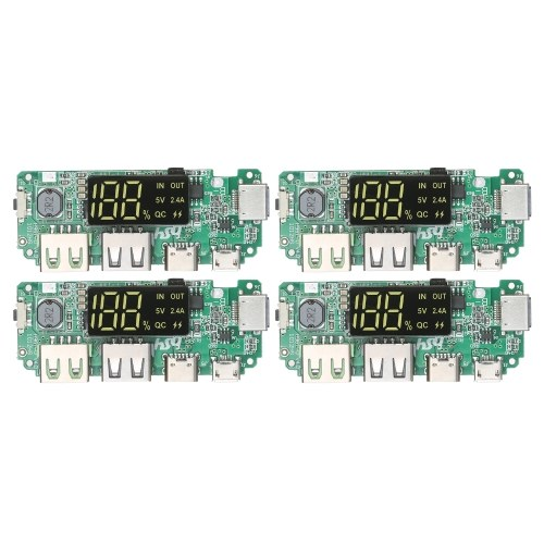 KKmoon4pcsデュアルUSB5V2.4AモバイルパワーバンクモジュールDIY充電モジュールボード