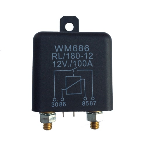 1 Pcs Heavy High Current 12VDC 100A AMP 2.4W Continuous Work 4 Pins Car Truck Auto Automotive On Off Start Relay Switch Fixing Hole for Large Motor