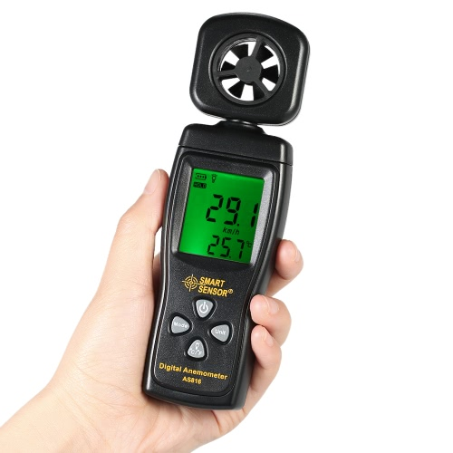 SMART SENSOR Mini Anemometer LCD Digital Wind Speed Meter Air Velocity Temperature Measuring with Backlight