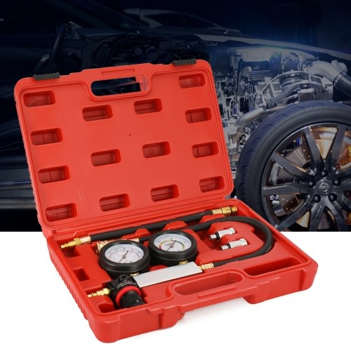 Auto Cylinder Leak Tester Compression Leakage Detector Kit Set Gasolina Engine Gauge Tool Kit Sistema de doble calibre con estuche