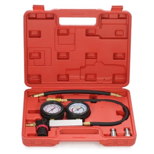Auto Cylinder Leak Tester Compression Leakage Detector Kit Set Gasolina Engine Gauge Tool Kit Sistema de doble calibre con estuche