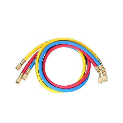 "3pcs 1/4"" SAE Universal R12 R22 R502 Manifold Gauge Sets Three-color Charging Hoses for HVAC Air Condition Refrigerant"