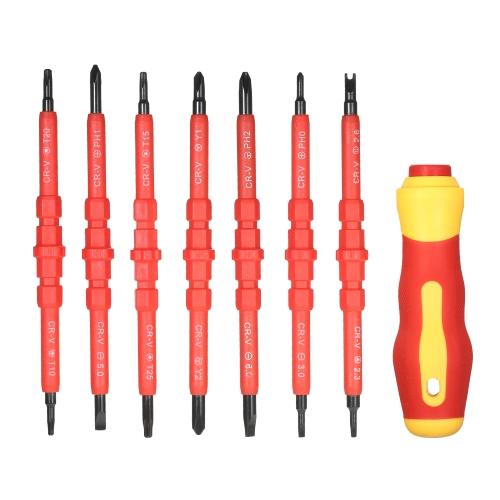 7 in 1 1000V Changeable Insulated Screwdrivers Set with Magnetic Phillips and Slotted Bits Electrician Repair Tools Kit