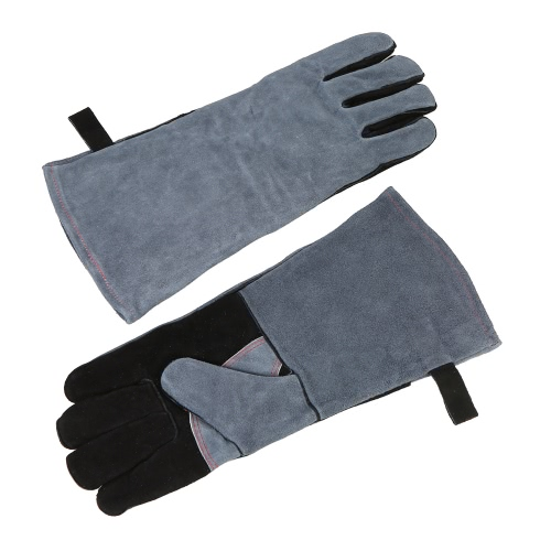 Heat Resistant Grill Oven Gloves 482℉(250℃) Heat Proof Leather BBQ Stove Fireplace Cooking Baking Electric Soldering Barbecue Glove with Cowhide Anti-slip Patch Protective  Gloves