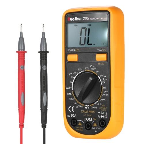 RuoShui Pocket 1999はオートレンジをカウントTrue RMS多機能デジタルマルチメータDC AC電圧を使用したDMM電流計抵抗ダイオード容量静電容量試験器連続試験HZバックライトLCDディスプレイ