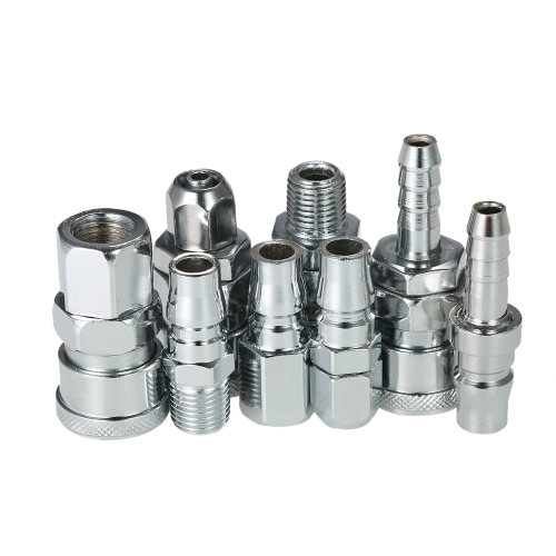 "8pcs 1/4 ""BSPT Adjustable Quick Couplers Plugs Set Industrial Air Mangue Conectores Set"