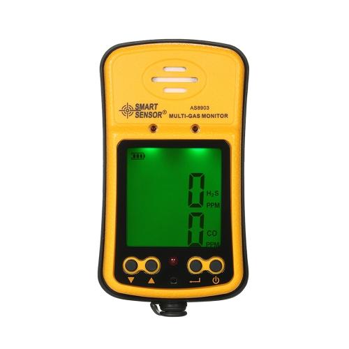INTELIGENTNY CZUJNIK Profesjonalny monitor H GasS i CO 2 in 1 Przemysłowy cyfrowy ręczny detektor gazów toksycznych Tlenek węgla Tlenek węgla Tester gazowy siarkowodoru 0-999ppm z wyświetlaczem LCD Dźwięk i światło Alarm wibracyjny 100-240 V