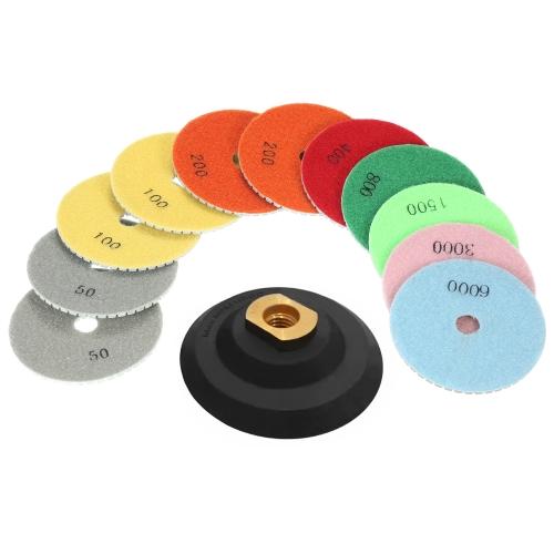11шт 4-дюймовые мокрые полировальные подушечки для шлифования дисков + 1шт для подкладки для гранита Мраморный камень Керамическая плитка Бетон