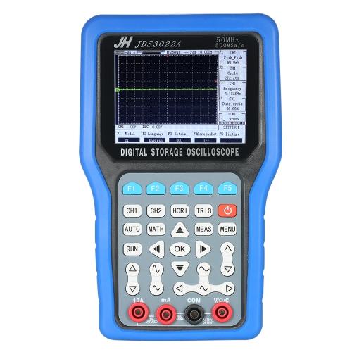 Osciloscópio de armazenamento digital portátil multifuncional 2 canais Medidor de alcance 30MHz ou 50MHz 250MSa / s ou 500MSa / s Multímetro com gerador de sinal