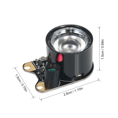 2pcs 1W 850 High-power Raspberry Pi Camera Board Module Automatic Night Vision Infrared Illuminator IR LED Light with Adjustable R
