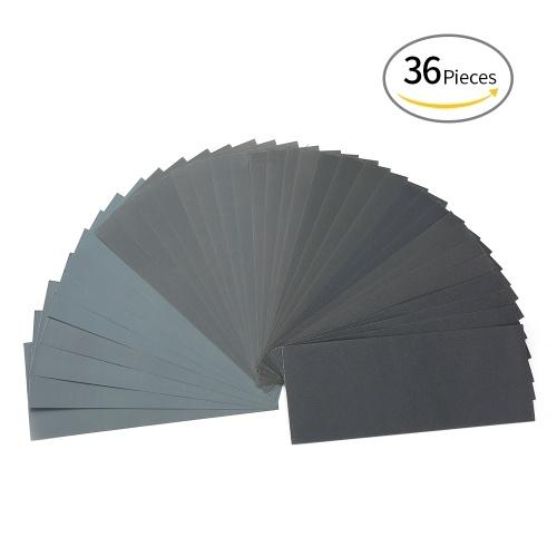 LANHU da 400 a 3000 Grit secco / carta vetrata bagnata per la finitura di mobili in legno Levigatura dei metalli e lucidatura per autoveicoli 9 * 3.6 pollici 36 fogli