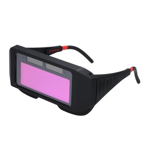 Auto-oscurante ad energia solare Saldatura di vetro Fotoelettrico Maschera per saldatura Casco Occhi pratici Occhiali Protezione di sicurezza sul luogo di lavoro Saldatura Equipaggiamento protettivo
