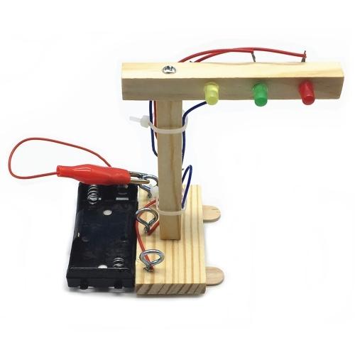 ウッドトラフィックライトdiyキット子供のおもちゃdiyキット子供のための科学と技術発明組み立て実験DIYモデル構築キット