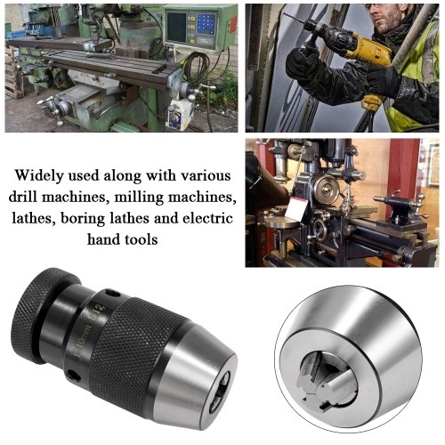 Keyless Light Duty Professional Drill Chuck For Machine Tools And Portable Tools Alloy B12 1-10mm Self-locking Click Adapter For CNC Milling Drilling Lathe Tool