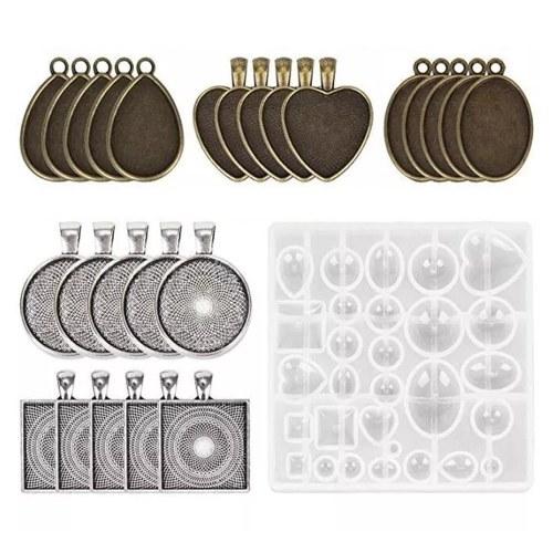 31pcs stampi in resina siliconica fai da te ciondolo stampi gioielli kit artigianale in cristallo per creazione di gioielli fai da te