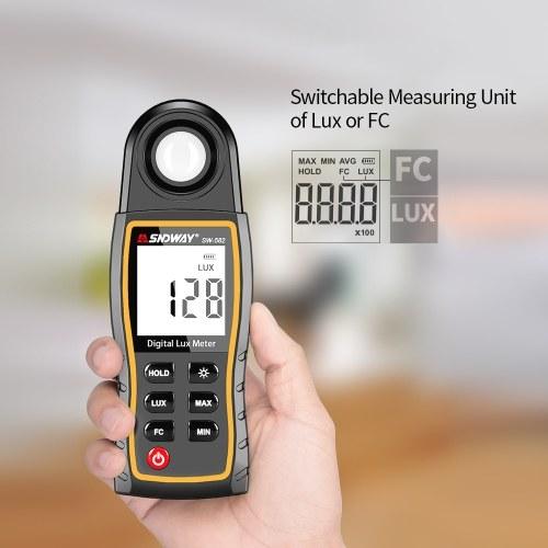SNDWAY Digital Lux Meter LCD Display Handheld Auto Range Illuminometer Luminometer Photometer Luxmeter Light Meter 0-199,900 Lux with Max/Min/Data Hold Mode
