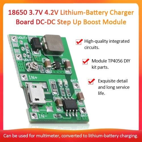 3.7V〜9V 18650リチウム電池充電器ボードDC-DCステップアップブーストモジュールTP4056 DIYキットパーツ