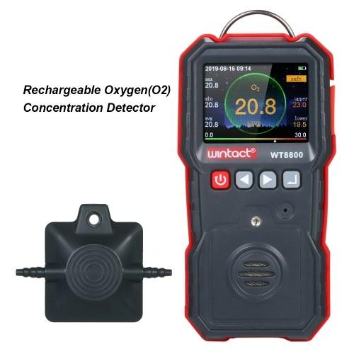 wintact Высокоточный измеритель кислорода Профессиональный портативный детектор концентрации кислорода (O2) с ЖК-дисплеем 120000 для регистрации данных, звуковой и вибрационной сигнализацией