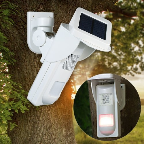 Solar Powered Dual Infrared Motion Sensor Detector Siren Strobe Alarm  System Waterproof Wireless PIR Sensor Detector with 16 Voices Alertor 2