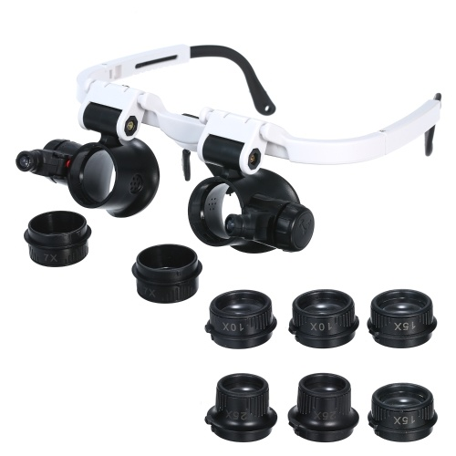 Magnifier Glasses LED Magnifying Head Mount Magnifier Interchangeable Loupe 4 Replaceable Lenses 7X/10X/15X/25X