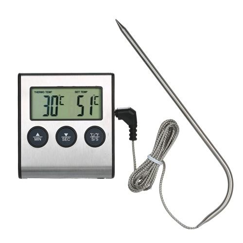 バーベキューグリル温度計食品温度計0〜250°C食品調理温度計アラームタイマー機能付きLCDデジタル食品温度計キッチン用バーベキューステーキバーベキュー