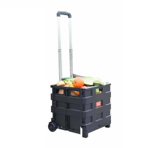 Cart Folding Shopping Bag Cart Two Wheeled Collapsible Handcart with Lid Portable Rolling Grocery Cart Utility Basket Seat 45L