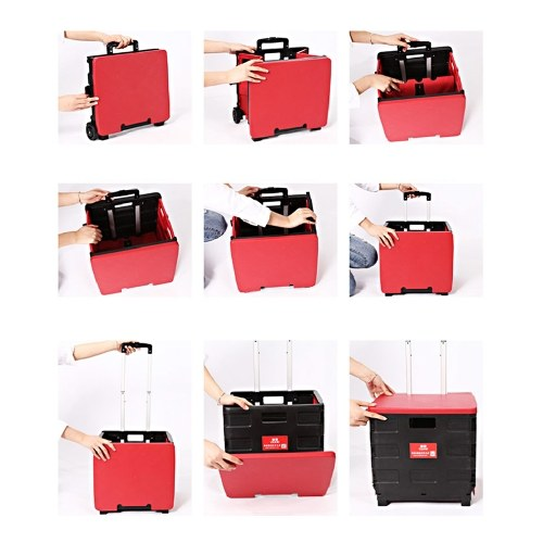 Quik Cart Folding Shopping Bag Cart Two Wheeled Collapsible Handcart with Lid Portable Rolling Grocery Cart Utility Basket Seat 65L
