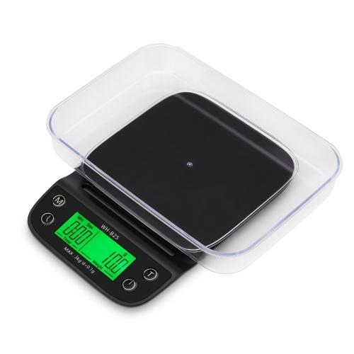 WH-B25 LCD高精細ディスプレイLEDグリーンバックライト手作りコーヒー電子スケールキッチンスケールベーキングスケール、ボウルおよび防水耐熱シリコンマット付き