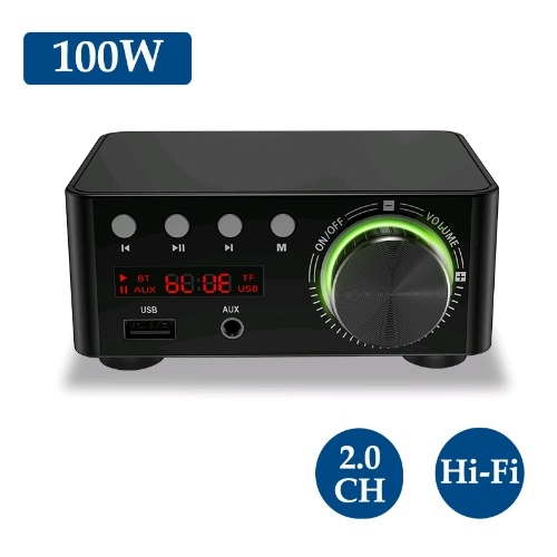 HIFI BT5.0 Digital Amplifier Mini Stereo Audio Amp 100W Dual Channel Sound Power Audio Receiver Stereo AMP USB AUX for  Home Theater USB TF Card Players Black