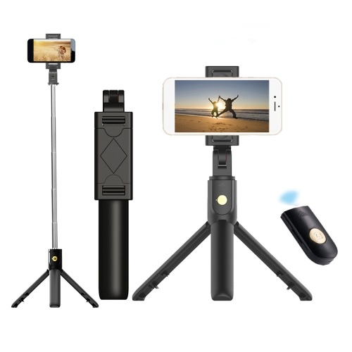 Wireless Foldable BT Mobile Phone Remote Control Selfie Stick Integrated Telescopic Mobile Phone Bracket with tripod