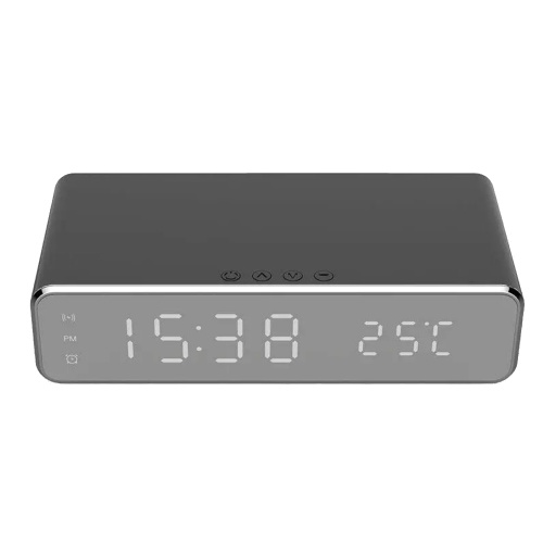 Wireless Charger Desk Clock LED Digital Clock Temperature Meter ℃/ ℉ Switchable Wireless Charging Device Multifunctional LED Alarm Clock with Calendar for Home Office Dormitory