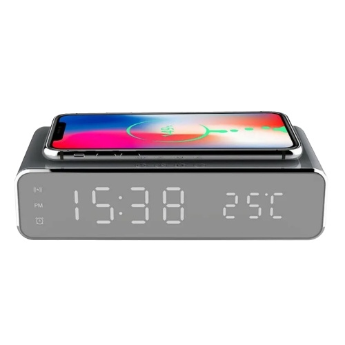 Cargador inalámbrico Reloj de escritorio LED Reloj digital Medidor de temperatura ℃ / ℉ Dispositivo de carga inalámbrico conmutable Reloj despertador LED multifuncional con calendario para dormitorio de oficina en casa