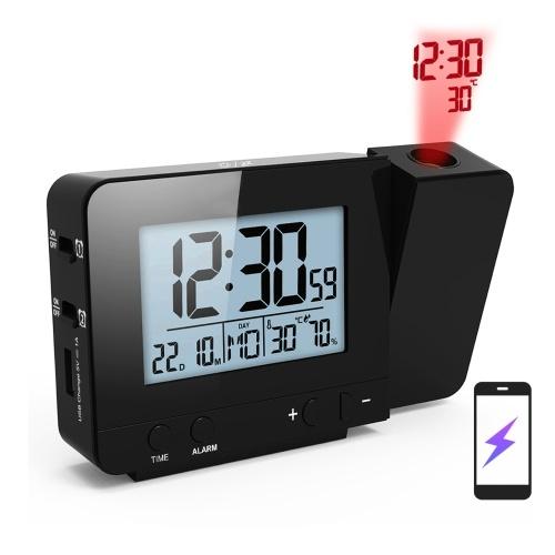 温度計湿度計付き寝室用プロジェクション目覚まし時計デジタルプロジェクト天井時計USB充電器付き調光可能LEDディスプレイデュアルアラーム付き180°回転可能12 / 24Hスヌーズ