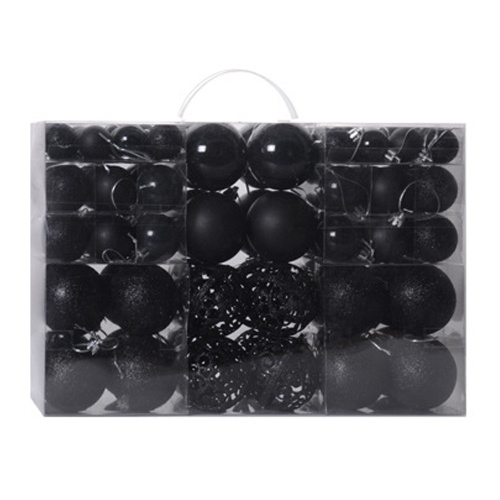 Juego de bolas de Navidad de 100 piezas, decoración de árbol de Navidad, juego de bolas colgantes con caja de almacenamiento