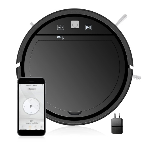 Wifi 3-In-1 Robotic Cleaner 1500Pa Powerful Suction Robot Vacuum Cleaner 2 Mode Compatible with Alexa Google Assitant Tuya App Ideal for Pets Hair Carpets and Hard Floors