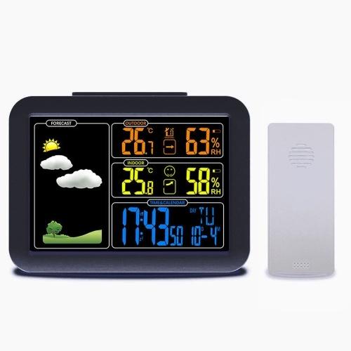 5分のスヌーズ機能を備えたデジタル目覚まし時計天気予報ステーション屋内屋外温度および湿度メーター